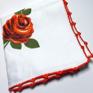 Vintage crochet rose square small tablecloth
